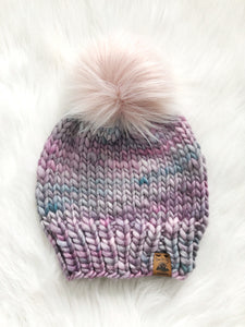 Ready to Ship 100% Merino Wool Chunky Knit Hat - Bellwood's Sky
