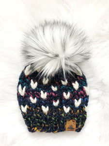 Ready to Ship 3-6M Size Mini Hearts Knit Hat