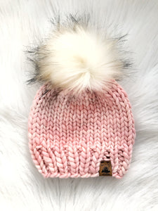 Ready to Ship - Toddler Size 100% Merino Wool Chunky Knit Hat - Pink