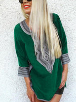Imprimé 3/4 Sleeve T-Shirt & Blouse