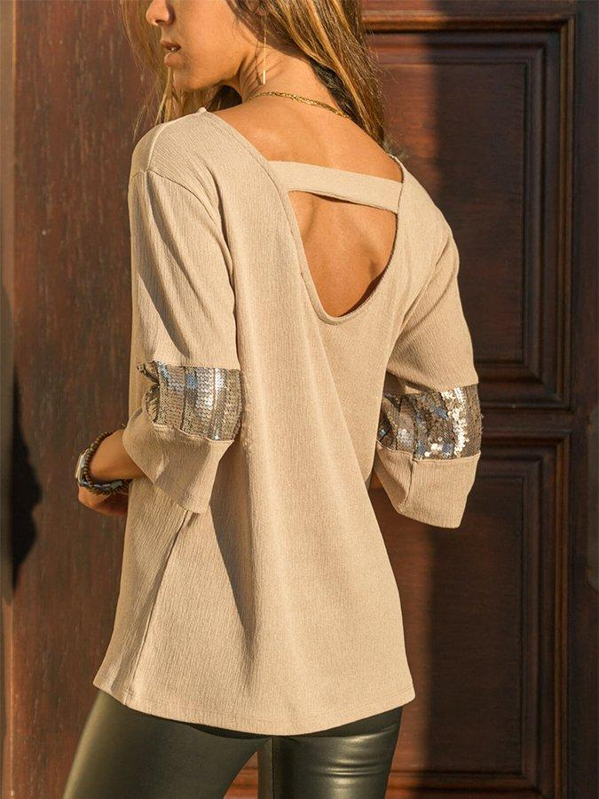 Beige Décalage Coton 3/4 Sleeve Col rond T-Shirt & Blouse