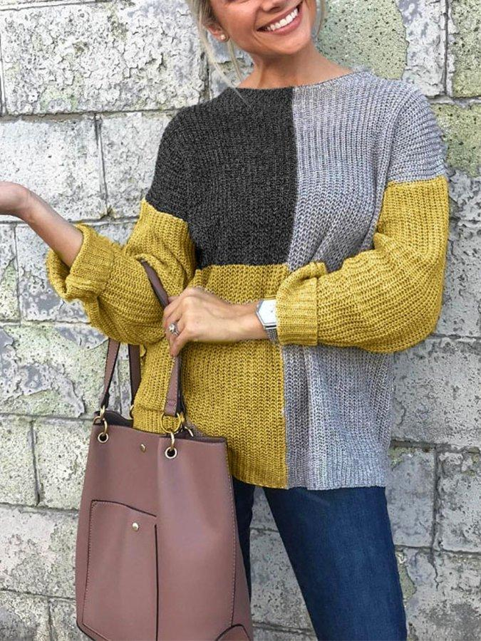 Jaune Dip-Dyed De plein air Col rond Sweaters
