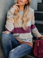 Multicolor Holiday Round Neck Long Sleeve Patchwork Sweaters