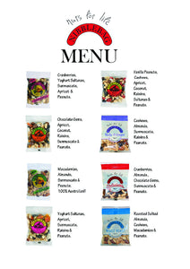 Nibblebags healthy snacks10 varieties in display boxes of 36 & 14 bags