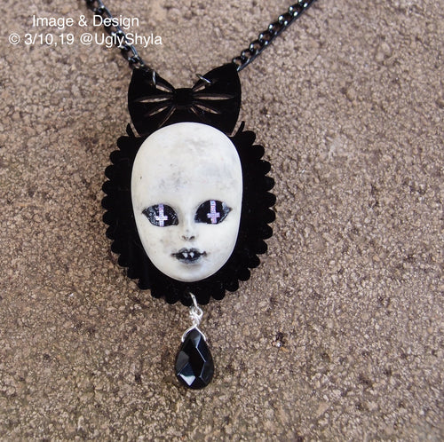 Female Nosferatu Dolly Head Necklace