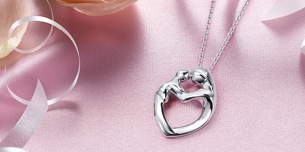 Mother and Child Heart Pendant Necklace