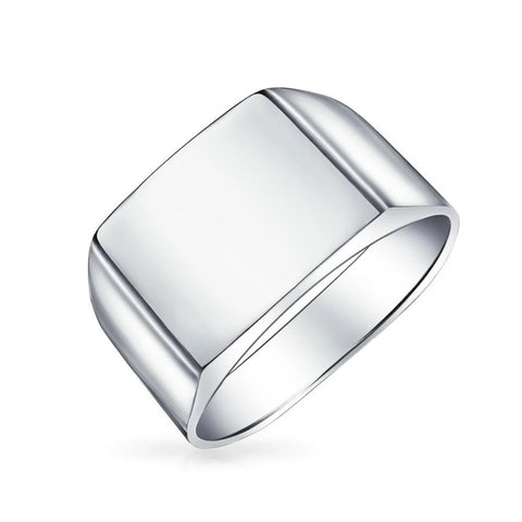 Wide Engravable Square Signet Ring