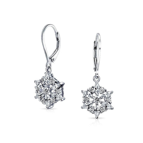 Marquise Winter CZ Snowflake Leverback Drop Earrings