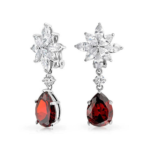 Red Tear CZ Statement Dangle Clip On Earrings