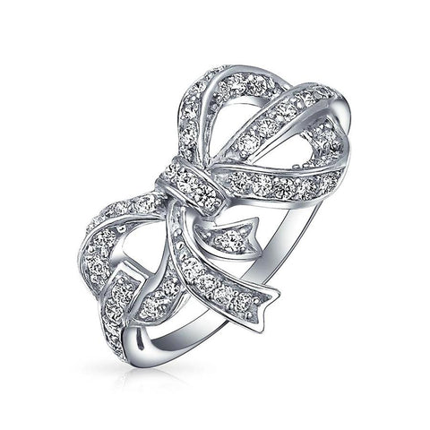Holiday Vintage Style Pave CZ Ribbon Bow Ring