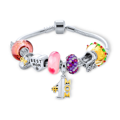 Wife #1 Mother Colorful Family Beads Starter Charms Bracelet