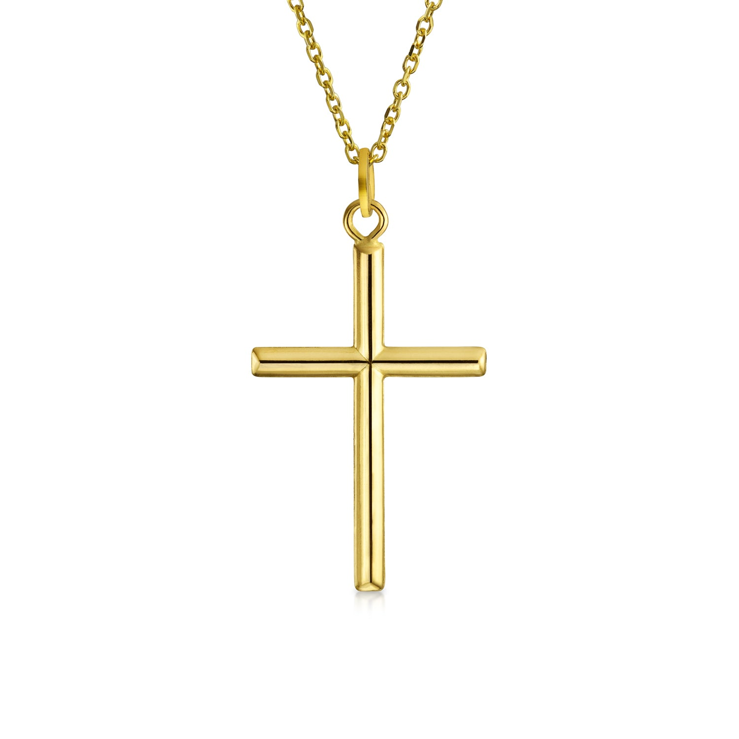 Jewels Obsession Cross Necklace 14K Rose Gold-plated 925 Silver Latin Cross Pendant with 16 Necklace