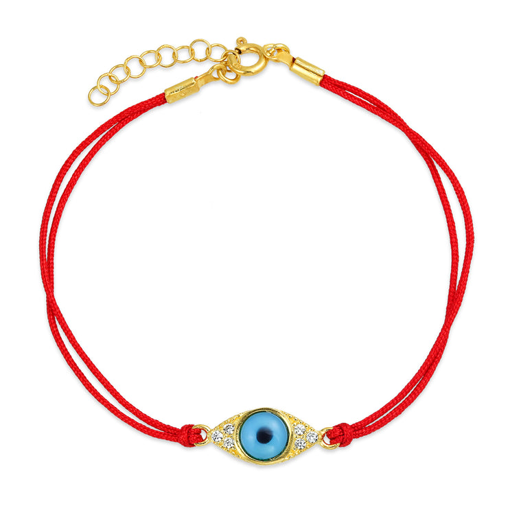 Blue Evil Eye Red String Cord Bracelets CZ Gold Plated Silver