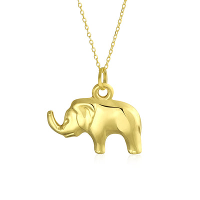 14K Yellow REAL Gold Shinny Elephant Pendant Necklace Men Gold Chain