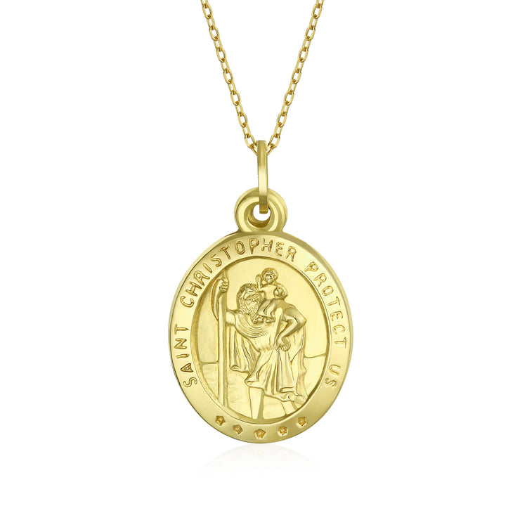 14K Yellow Real Gold Religious Medal Saint Christopher Pendant