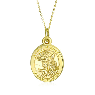 14K Yellow Gold Saint Michael Pendant Yellow Gold Chain Necklace