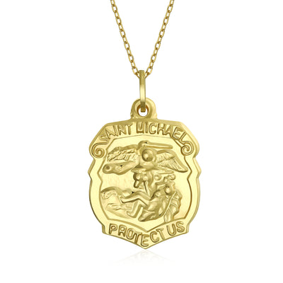 14K Yellow Real Gold Religious Medal Saint Michael Protection Shield