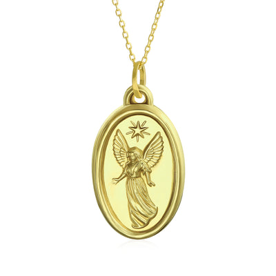 14K Yellow Gold Angel Pendant Gold Chain Oval Necklace Communion