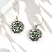 Celtic Clover Green Circle Earring Simulate  Simulated Emerald Sterling Silver
