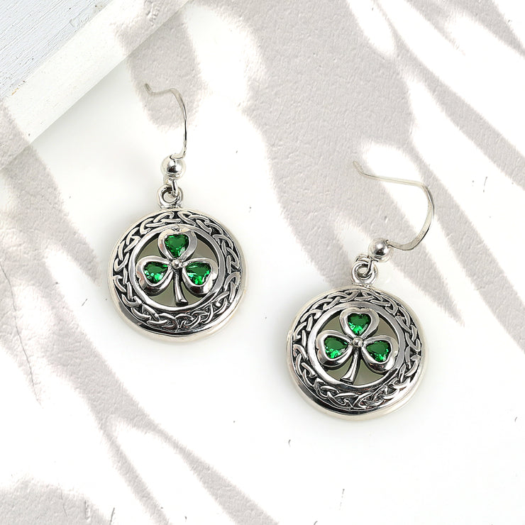 Celtic Shamrock Clover Circle Earring Imitation Green Emerald Silver
