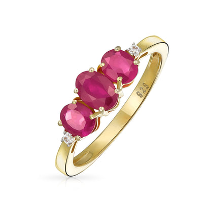 1.9CT Red Pink Imitation Ruby Ring Gold Plated 925 Sterling Silver