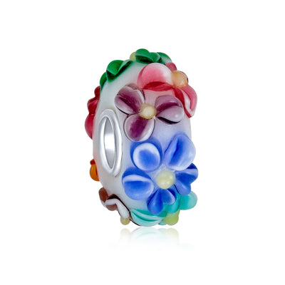 Flower 3D Lamp Murano Glass Spacer Bead Charm 925 Sterling Silver