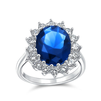 4CT Blue Oval Imitation Sapphire CZ Engagement Ring Sterling Silver