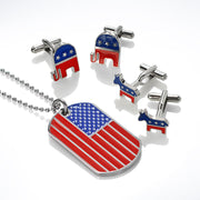 Patriotic USA Red Blue Democrat Donkey Shirt Cufflinks Stainless Steel