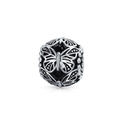 Garden Insect Filigree Barrel Round Butterfly Charm Bead 925 Silver