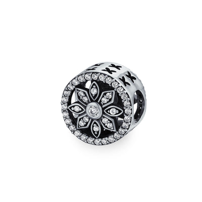 White Crystal Filigree Spacer Open Round Disc Flower Charm Bead Silver
