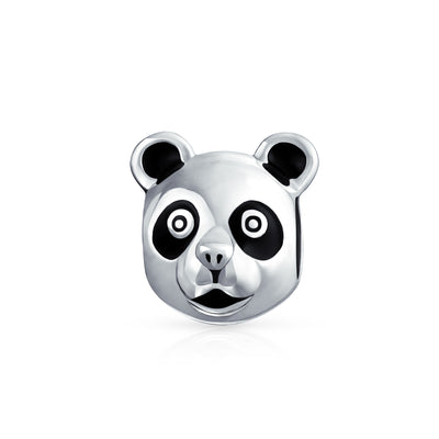 Panda Bear Face Wild Zoo Animal World Charm Bead 925 Sterling Silver