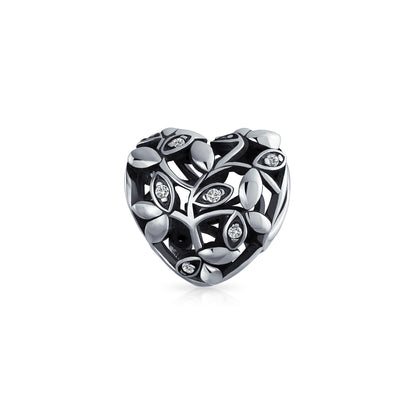 Vintage Style Crystal Open Vine Leaf Heart Charm Bead Sterling Silver