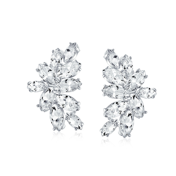 Marquise Cut Clusters CZ Clip-On Earrings Brides Prom Silver Plated