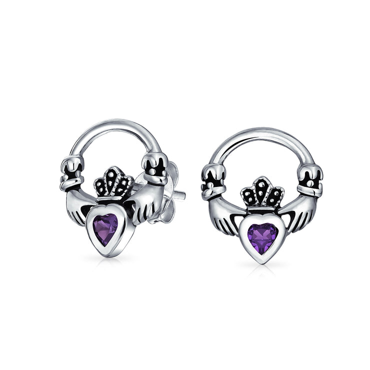 Claddagh Heart CZ Stud Earrings Synthetic Alexandrite Sterling Silver