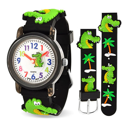 3D Crocodile Alligator Waterproof Watch Quartz Black Silicone Round