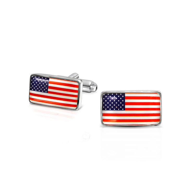 Patriotic USA Red White Blue Flag Stars Stripes Shirt Cufflinks Steel