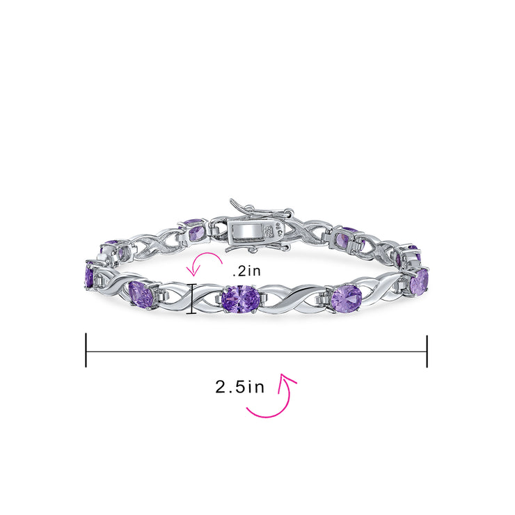 Simulated Amethyst Purple Oval AAA CZ Infinity Tennis Bracelet Silver
