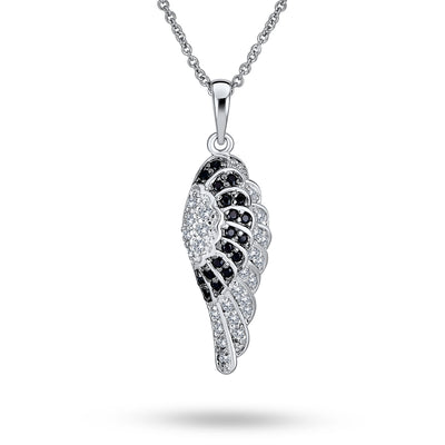 Angel Wing Black White Pave CZ Silver Plated Dangle Pendant Necklace