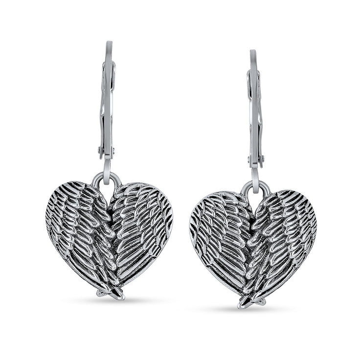 Heart Angel Wings Feather Leverback Dangle Earrings Sterling Silver