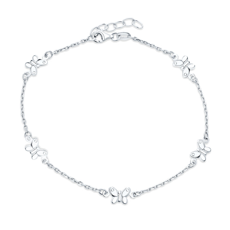Multi Butterfly Anklet Charm Ankle Bracelet For Women Sterling Silver