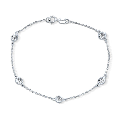 Cubic Zirconia By The Inch Bezel Set Chain Bracelet Sterling Silver