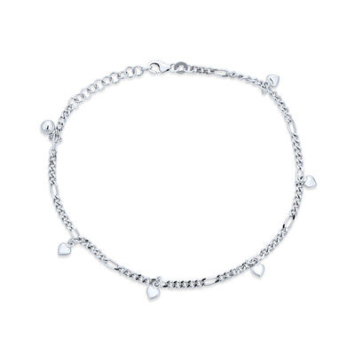 Multi Heart Dangle Charms Anklet Ankle Bracelet 925 Sterling Silver