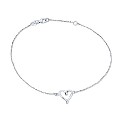 Open Love Heart Anklet Ankle Bracelet 925 Sterling Silver Adjustable