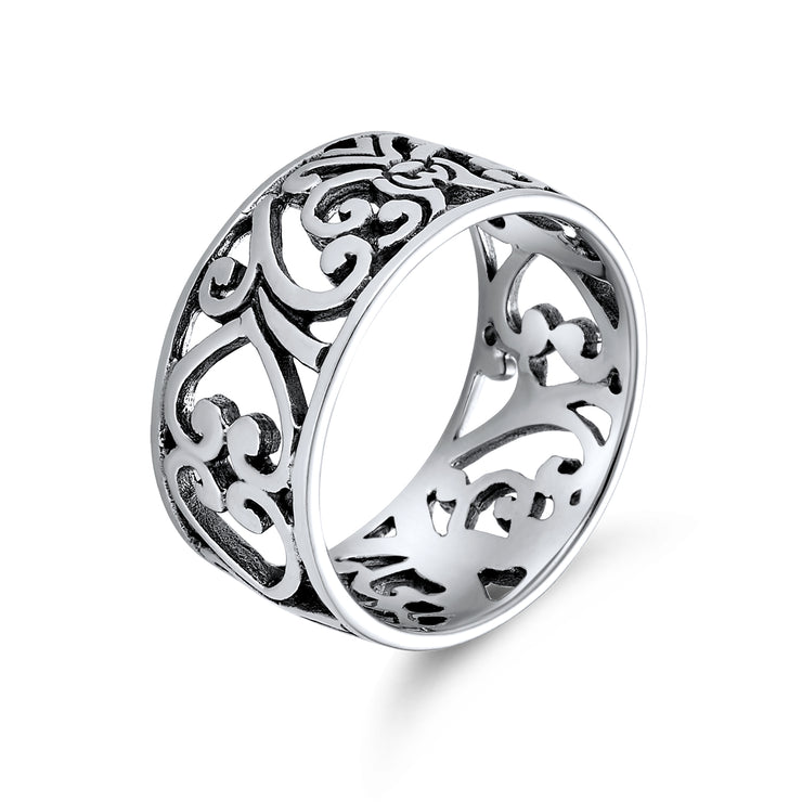 Boho 925 Sterling Silver Open Swirl Filigree Wide Band Ring 7MM