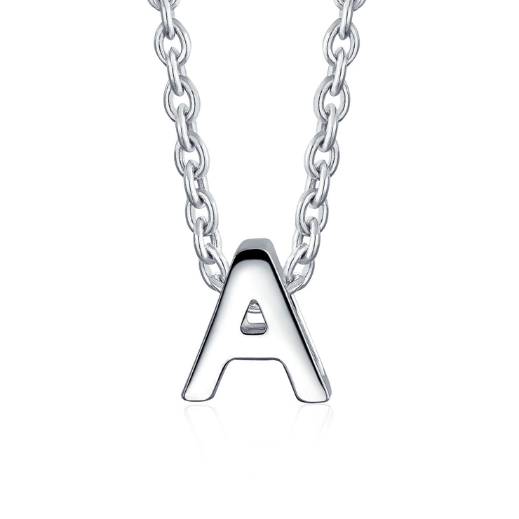 Letter Block Alphabet Initial Pendant Necklace 925 Sterling Silver