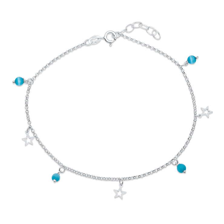 Aqua Blue Cats Eye Bead Anklet Sterling Silver Star Charm 9-10 inch