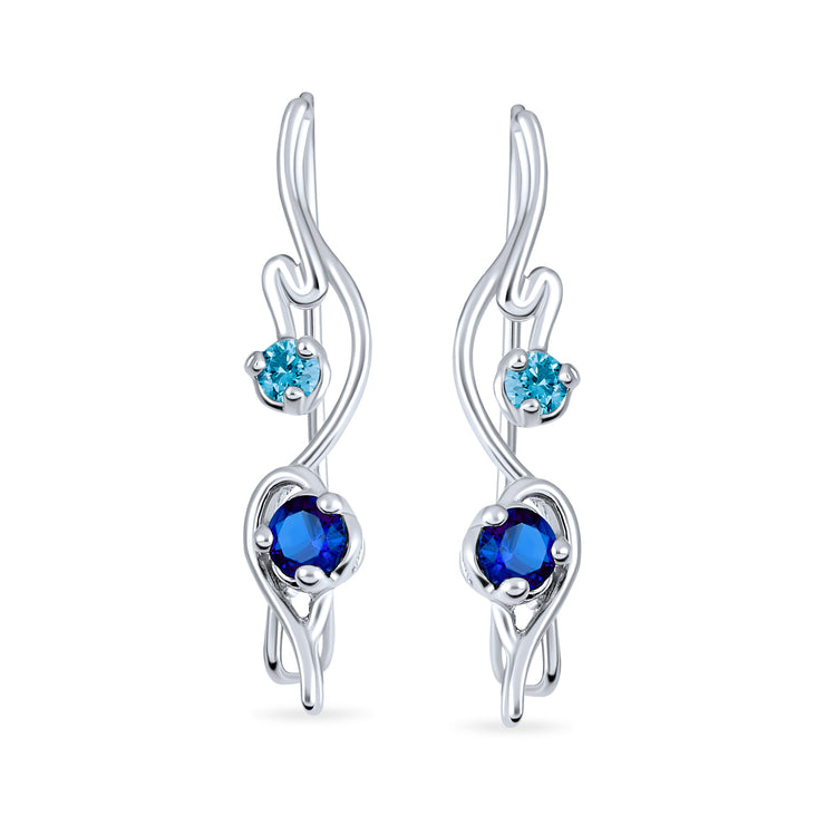 Ear Pin Climber Aqua Earring Imitation Sapphire CZ Sterling Silver