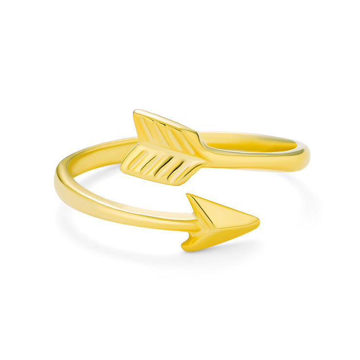 Midi Knuckle 1MM Band Arrow Ring Gold Plated 925 Sterling Silver