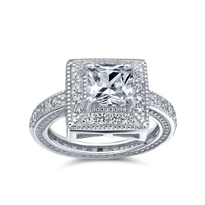 2CT Princess Cut Halo AAA CZ Engagement Ring Sterling Silver Ring