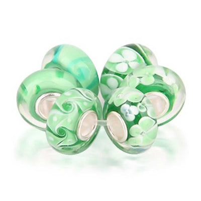 Green White Murano Glass Bead Charm Bundle Set 925 Sterling Silver
